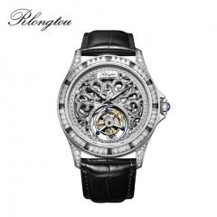 浪陀(Rlongtou)手表 彩宝陀飞轮系列 陀飞轮机芯 镶嵌宝石 镶嵌钻石 鳄鱼皮表带 男款 白金