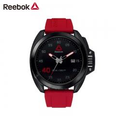 美国Reebok手表 防护钢系列 黑色平面简约表盘 齿轮表冠