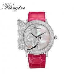 浪陀(Rlongtou)手表 摩尔福蝶系列腕表 马蹄莲 时尚女表 半钻镶嵌 吻碟