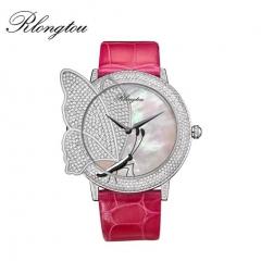 浪陀(Rlongtou)手表 摩尔福蝶系列腕表 马蹄莲 时尚女表 半钻镶嵌