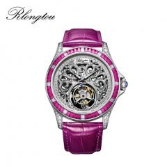 浪陀(Rlongtou)手表 彩宝陀飞轮系列 陀飞轮机芯 彩色宝石 镶嵌钻石 鳄鱼皮表带 女款