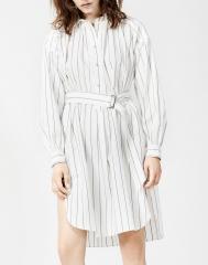 竖条纹衬衫裙中长款半开襟开衩系腰带纯棉 S码