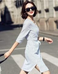 新款不规则V领条纹复古连衣裙通勤收腰修身显瘦时尚休闲气质连衣裙子 S(155/80A)
