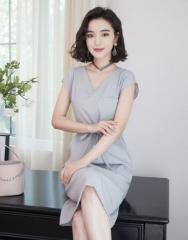 女装无袖纯色V领收腰连衣裙中长款A字裙 S(155/80A)