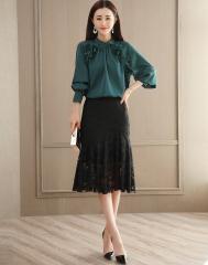 优雅圆领拼接蕾丝女款衬衫+高腰镂空蕾丝包臀半身裙套装 L(165/88A)