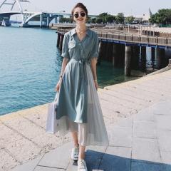 法式小众设计感雪纺连衣裙女夏2021新款不规则气质赫本风a字长裙 M(160/84A)