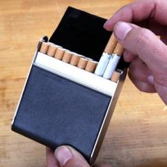 量子能量烟盒 20支装 高档pu烟盒 黑色 棕色