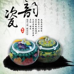 纯手工醴陵釉下五彩茶叶缸饰品瓷器陶瓷一对