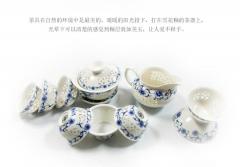 醴陵五彩釉下青花瓷陶瓷茶具一套
