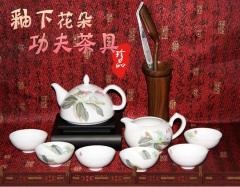 醴陵釉下五彩花纹功夫茶具陶瓷用具一套